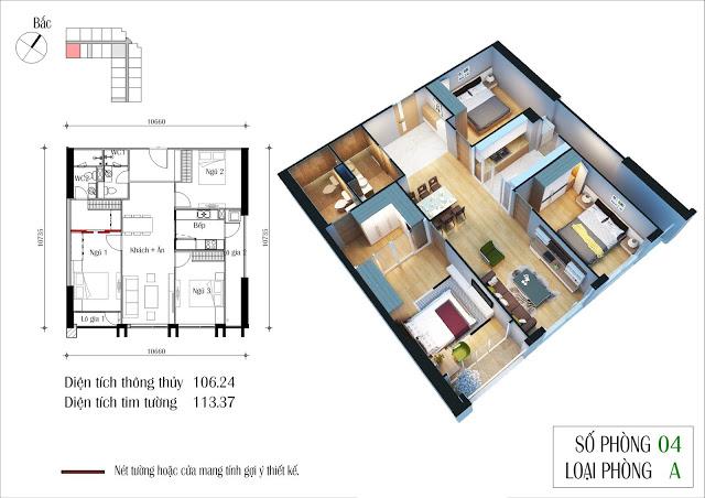 Thiết kế điển hình căn hộ 03 phòng ngủ dự án Eco Dream