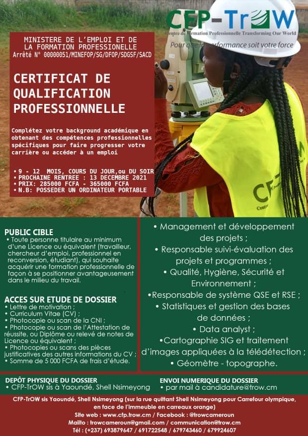 TrOW: Appel à candidature - 6ième session de sélection en spécialisation professionnelle Décembre 2021
