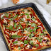 BBQ Jackfruit Lentil Crust Pizza Tray Bake
