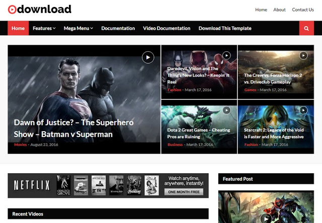 Video Download responsive blogger template free download