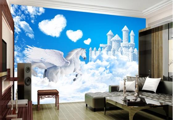 Tranh Dán Tường 3D Ngựa Trắng  Phi Trên Mây