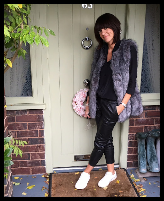 My Midlife Fashion, Faux Fur Gilet, Zara Pleather Trousers, Silk Shirt, Mango White Leather Trainers