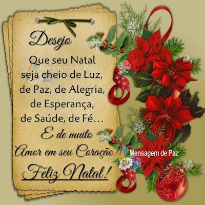 Desejo que seu Natal seja cheio de Luz, de Paz, de Alegria, de Esperança, de Saúde, de fé... E de muito Amor em seu Coração! Feliz Natal!