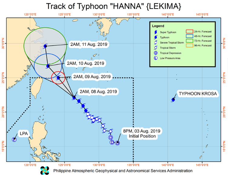 Track of Typhoon Hanna as of 7:00 am, August 8, 2019 | Image courtesy of DOST-PAGASA