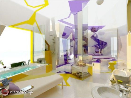 3D Futuristic Style Combination Of Two Contrasting Modern Bathroom Designs 5