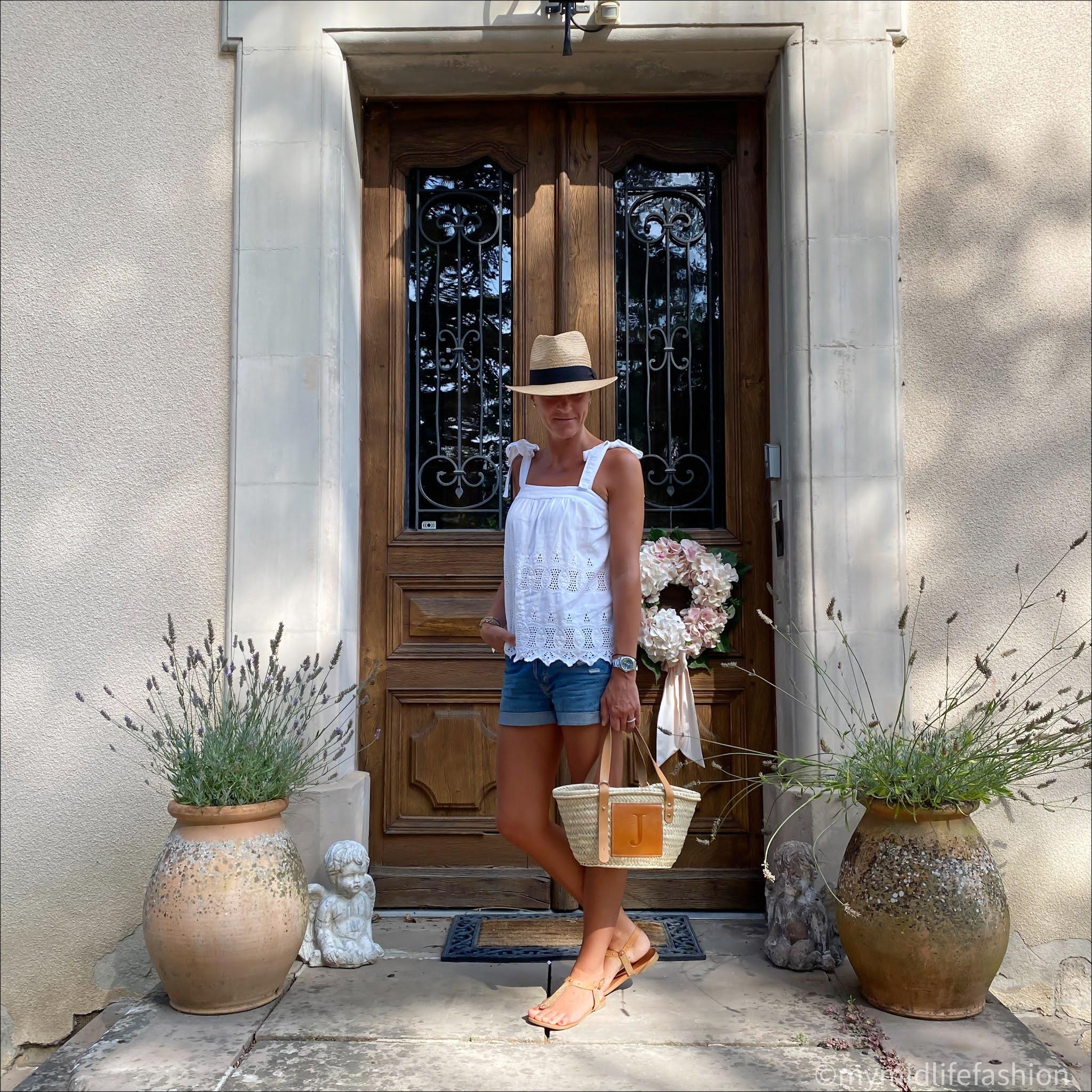 my midlife fashion, zara Panama hat, monsoon embroidery anglaise camisole, h & m denim shorts, lada jewelry basket, Carvela leather thong sandals