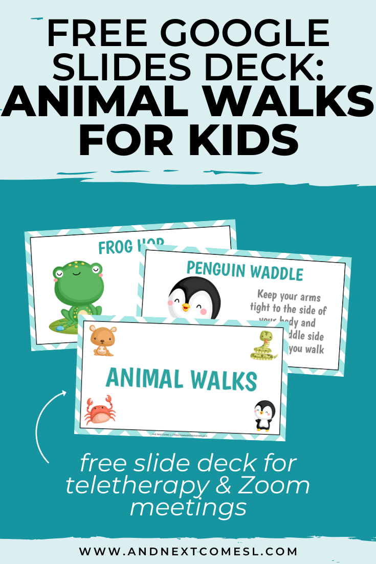 Free Google Slides deck of fun animal walks for kids - an awesome free teletherapy material to use in Zoom meetings!