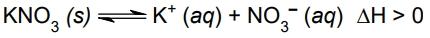 Albert Einstein 2021: O equilíbrio químico da dissolução do sal nitrato de potássio em água é representado pela seguinte equação