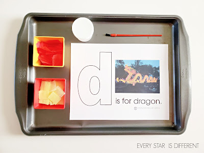 D is for Dragon Tissue Paper Activity