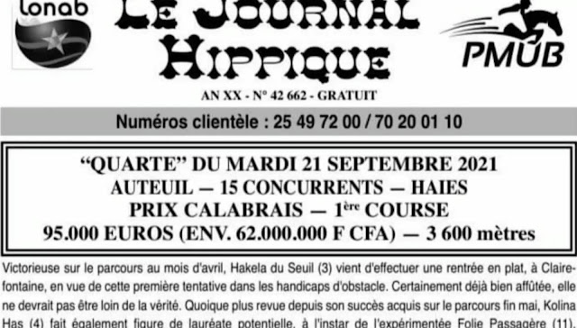 programme quinté Pronostic Mardi 21/09/2021