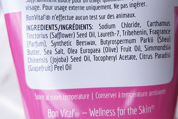 BVspa by Bon Vital Salt Scrub in pink grapefruit ingredients