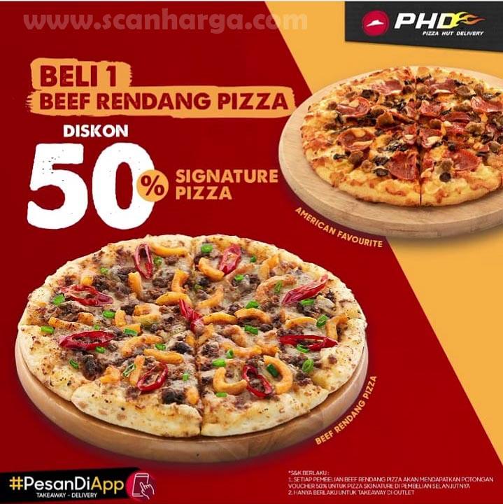 PHD Promo Beli 1 Beef Rendang Pizza Diskon 50% Signature Pizza Spesial Agustus 2020