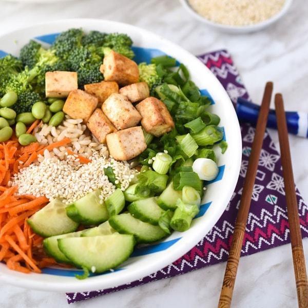 Healthy plant based teriyaki dinner with tofu