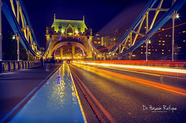 Photo: Light trails on Tower Bridge