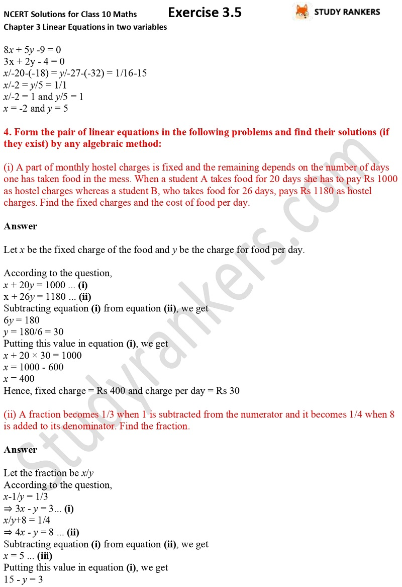 NCERT Solutions for Class 10 Maths Chapter 3 Pair of Linear Equations in Two Variables Exercise 3.5 Part 4