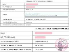 Status Permohonan BR1M 'TIDAK LULUS' bertukar ke 'DALAM PROSES'