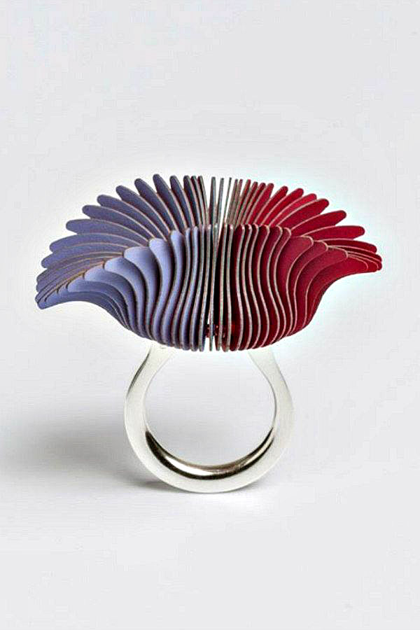 modern art purple and red layered paper on silver ring base