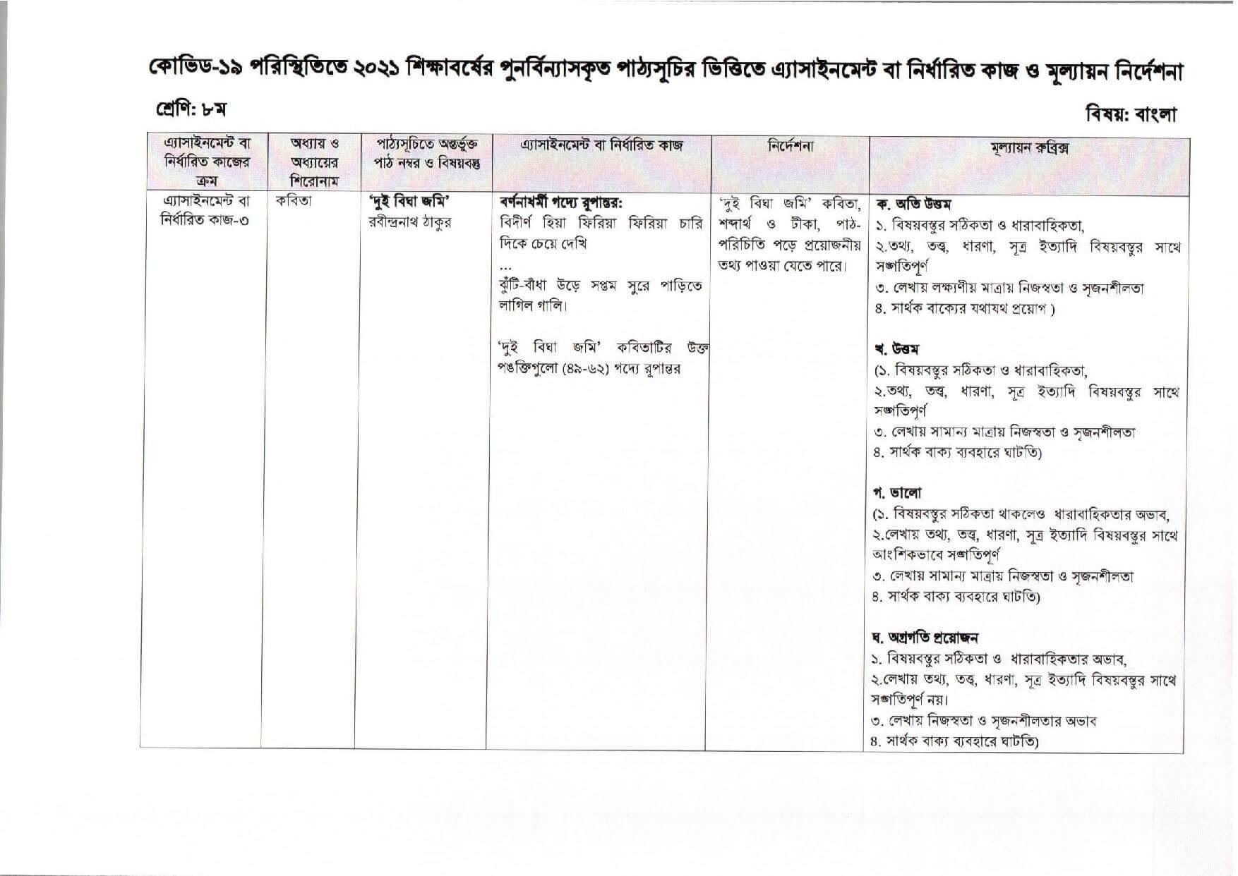 9th Week Class 8 Assignment 2021 Bangla