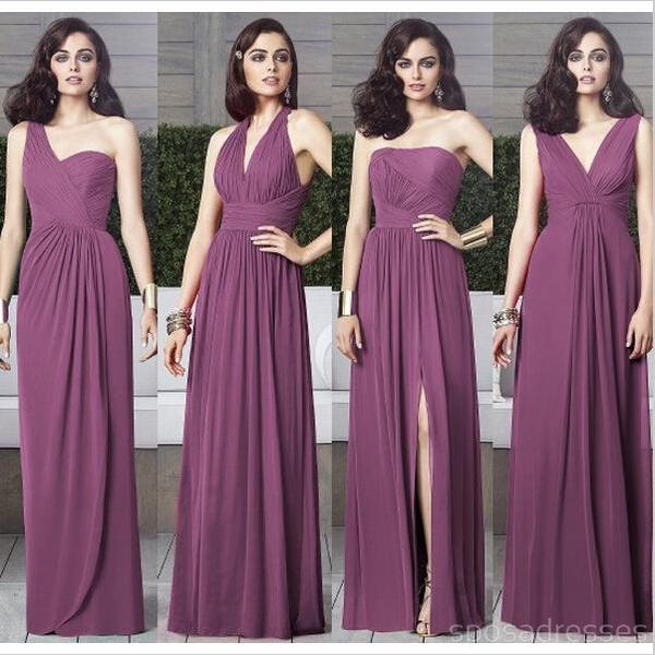 purple  color bridesmaid dress with different neckline