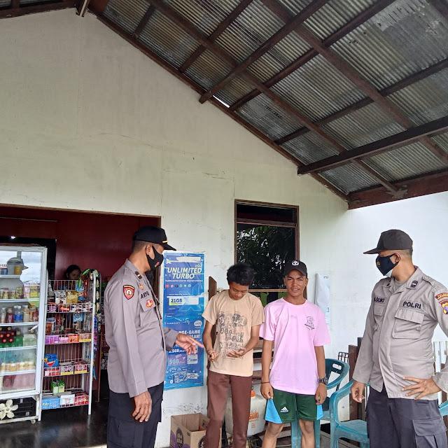 Anggota Polsek Pulau Hanaut Himbauan Pendisiplinan Prokes 3M