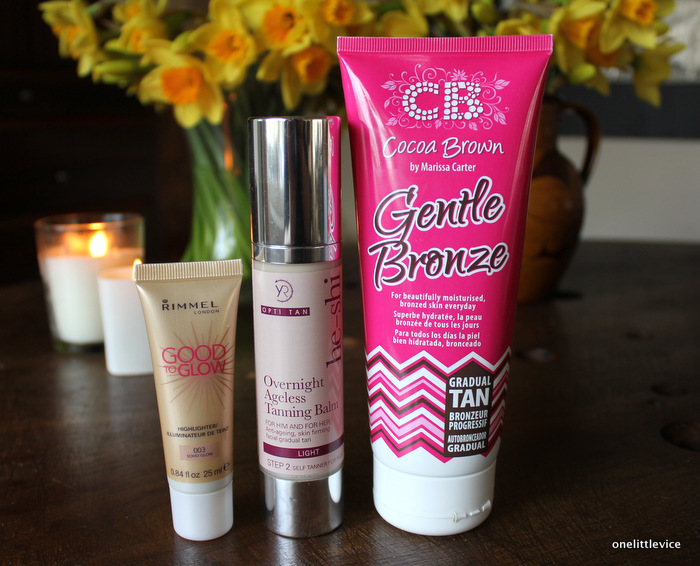 one little vice beauty blog: rimmel good to glow, cocoa brown gentle bronze and he-shi overnight ageless tanning balm