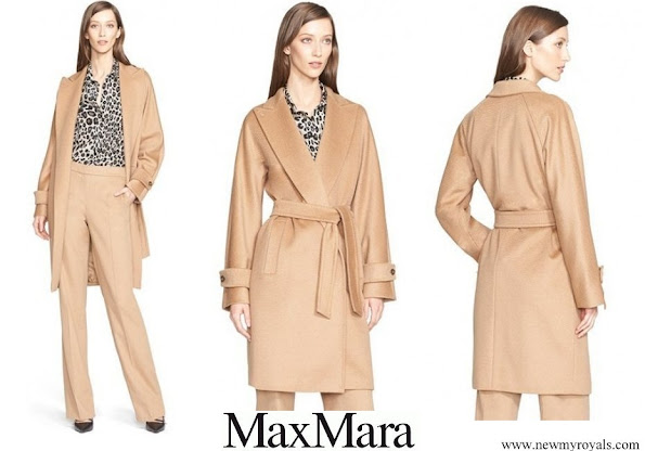 Queen Maxima wore MaxMara Megaton Co-Camel Hair Wrap Coat