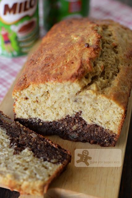 black bottom Milo wholemeal banana bread