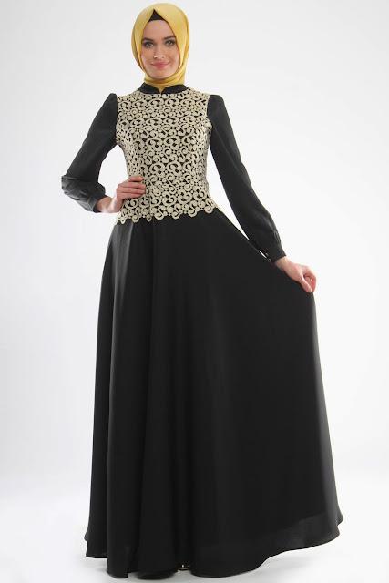 abaya pesta perpaduan hitam dan gold mewah