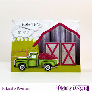 Stamp/Die Duos: Loads of Love, Paper Collection: Rustic Christmas, Custom Dies: Barn, Grass Hill, Clouds & Raindrops, Farm Fence