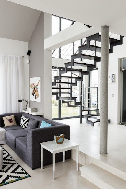 tv cabinet design near staircase