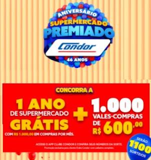 Promoção Aniversário 2020 Condor 1 Ano Compras Grátis Supermercado Premiado - Vales Compras