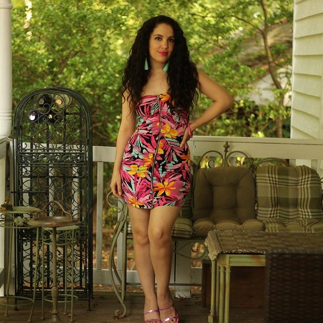 Tropical Print Mini Dress