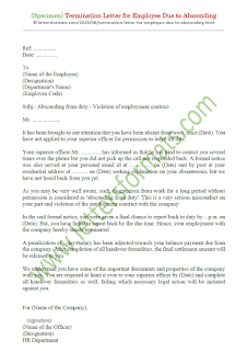 termination letter for employee due to absconding