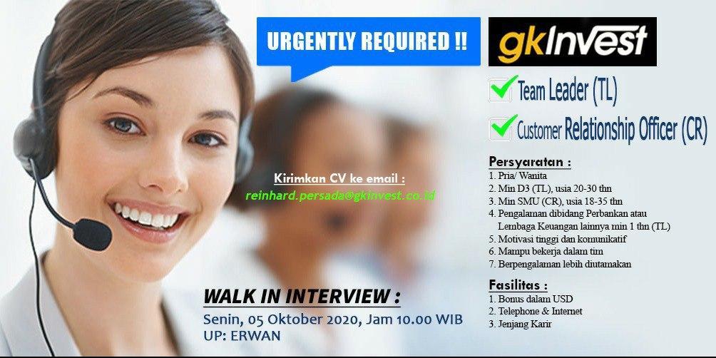 Lowongan Kerja GK Invest Bandung Oktober 2020