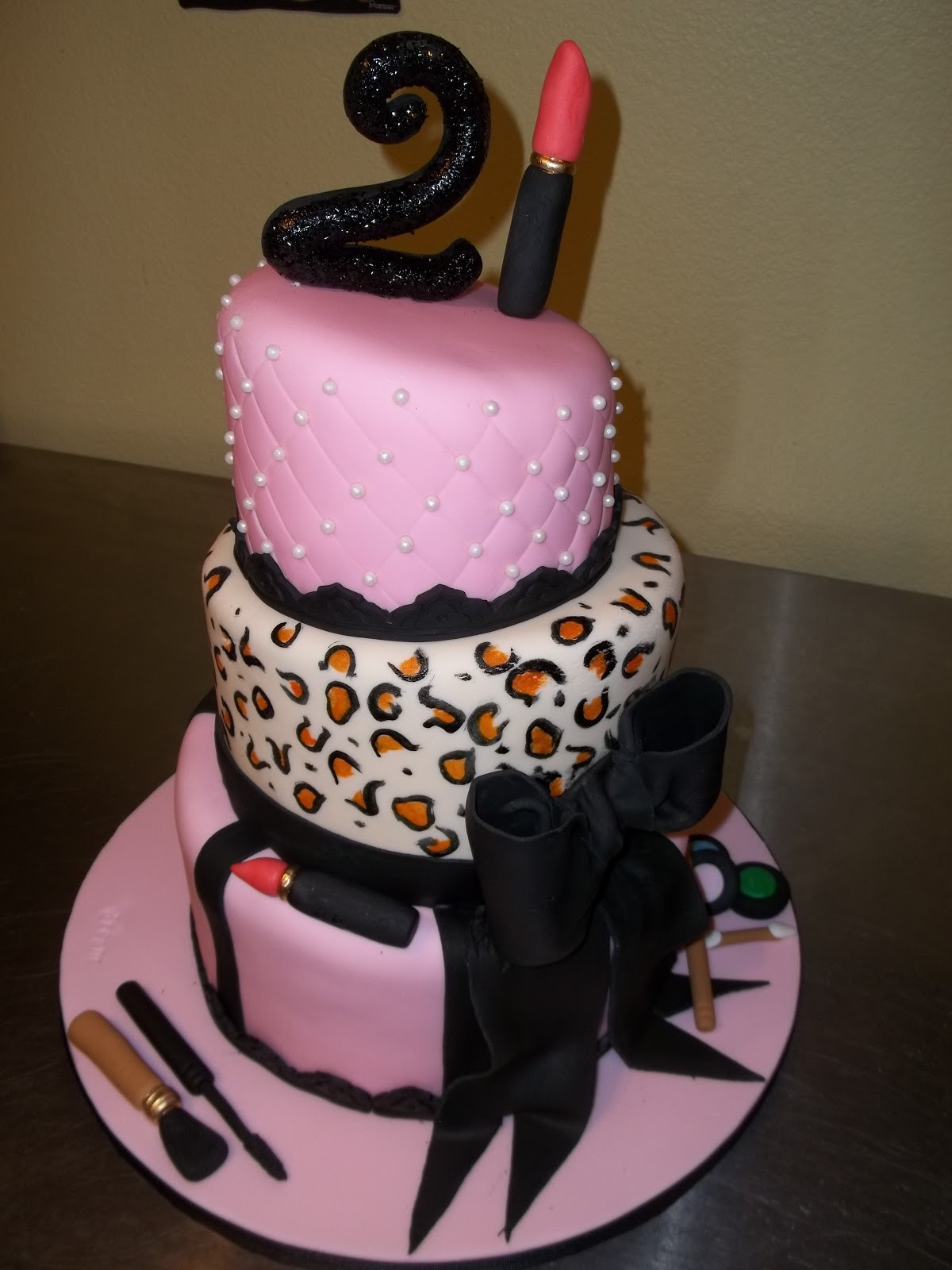 The Birthday Girl Wanted A Tiered Makeup Cake With Big Bow