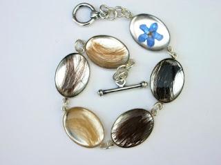 Sterling silver forget me not bracelet for several locks of hair