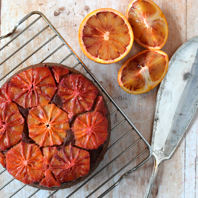 Chocolate Orange Upside Down Cake with Blood Oranges