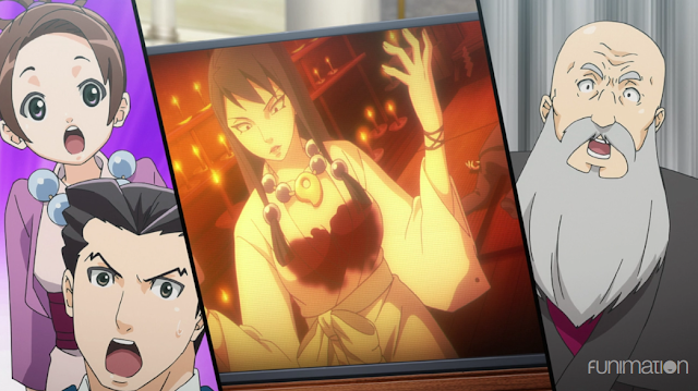 Ace Attorney anime Reunion and Turnabout trial Lotta Hart photograph picture Maya Fey face blood Channeling Chamber
