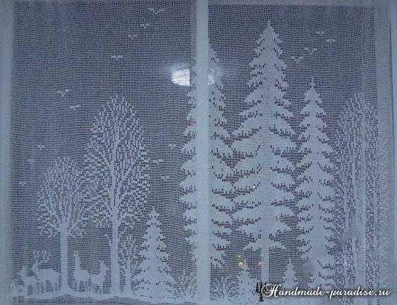 Лес. Филейные шторы крючком и вышивка (9)