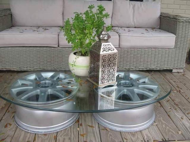 Ideas para reutilizar aros ruedas rines for Decoracion con ruedas