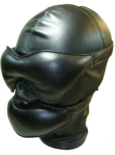 Espressivo Club Leather Hood with soft Blindfold and Muffle Gag