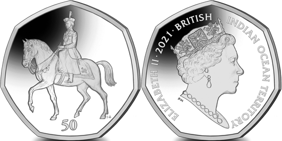 British Indian Ocean Territory 50 pence 2021 - 95th Birthday of Queen Elizabeth II - Trooping the Colour