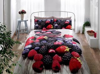 Taç Berry Kırmızı 3D Saten Nevresim Takımı Çift Kişilik