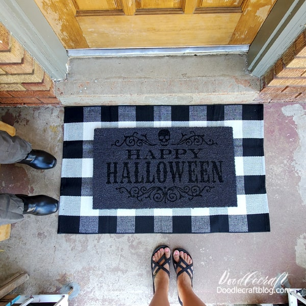 Isn't this welcome mat just perfect!? I layered it with a buffalo plaid mat for the perfect effect. Get this doormat quick, there is limited stock--but it's so cheap!