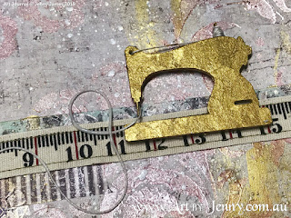 golden sewing machine with Tim Holtz Idea-Ology Tape on the Childrens Clothing Collage by Jenny James