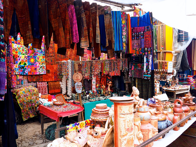Colourful market stalls at Chichicastenango, Guatemala