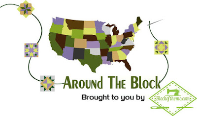 quilt blocks in green around a US map