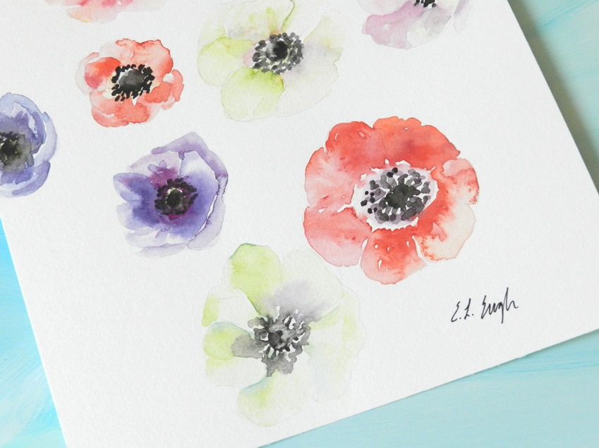 Original Watercolor Anemone Flowers Painting by Elise Engh