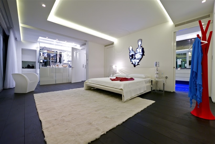 Large penthouse bedroom