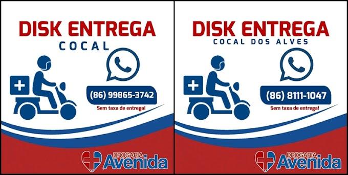 Drogaria Avenida está realizando entrega a domicilio sem cobrar taxa de entrega em Cocal e Cocal dos Alves